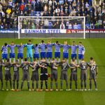 Reading and Leicester players take part in the minute's silence