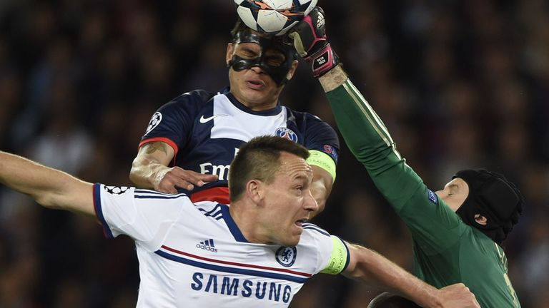 Thiago Silva: The Brazilian international battles for the ball with John Terry and Peter Cech during the game.