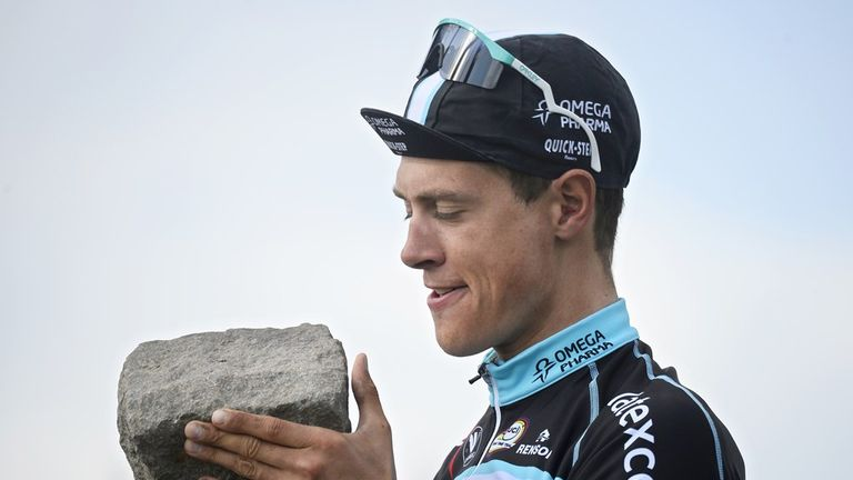 Terpstra with the cobblestone trophy