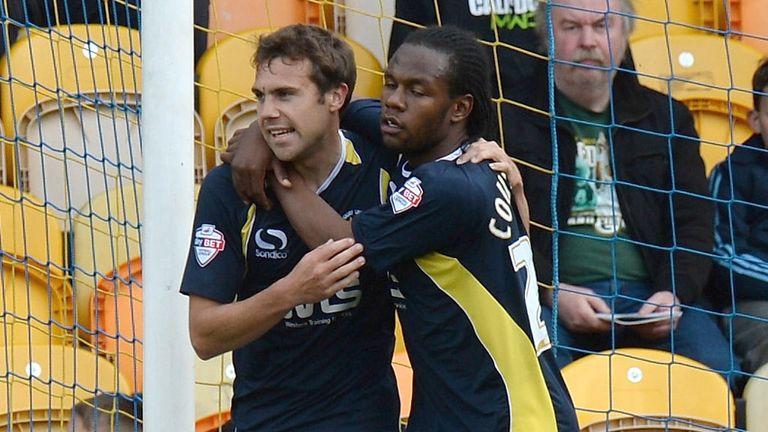 Ashley Yeoman (L) celebrates goal against Mansfield