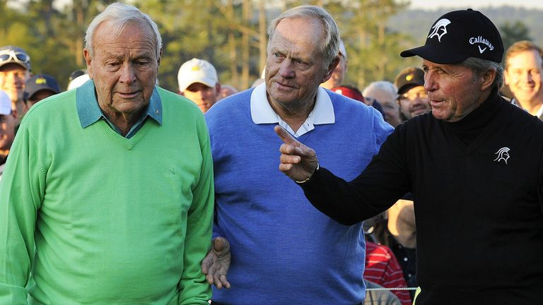 Golf's original Big Three at Augusta in 2014: Left-to-right - Palmer, Nicklaus & Player
