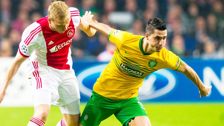 Beram Kayal (right): In Champions League action for Celtic against Ajax