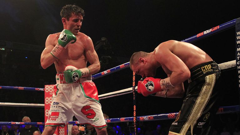 Anthony Crolla pours the pressure on late in his fight with John Murray (Pic Lawrence Lustig)