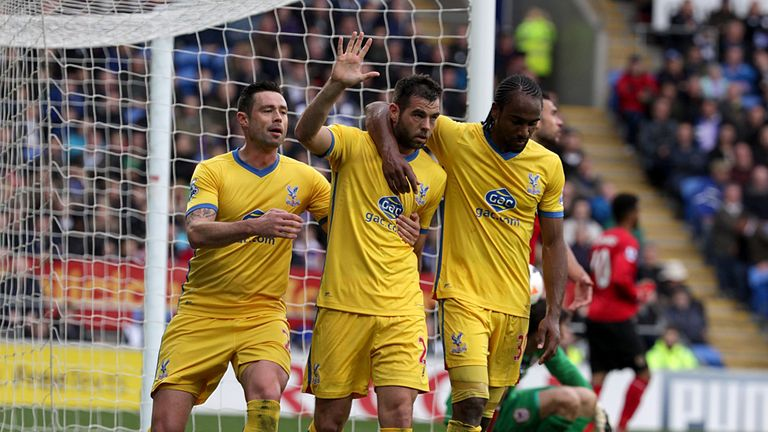 Crystal Palace celebrate Joe Ledley's goal in the 3-0 win over Cardiff