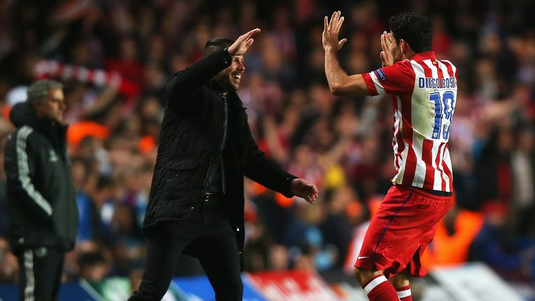 Diego Simeone: Celebrates with Diego Costa