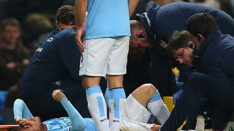 David Silva: Stretchered off against West Brom