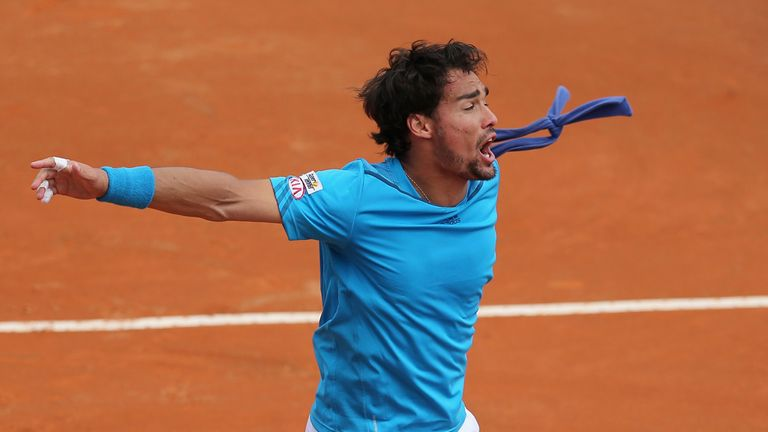 Fabio Fognini celebrates his victory over Andy Murray