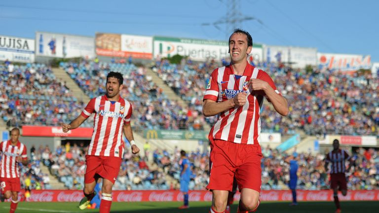 Diego Godin: Celebrates putting Atletico ahead against Getafe