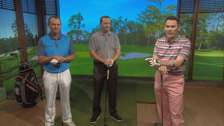 Rob sported pink trousers on Masters Breakfast - and a good swing, too