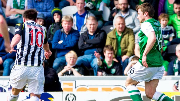 Paul McGowan scores St Mirren's second goal against Hibernian