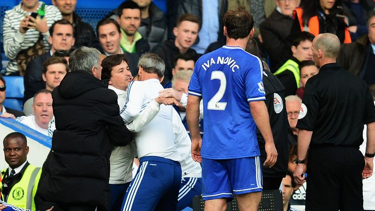 Rui Faria: Is dragged away by Jose Mourinho after being sent to the stands