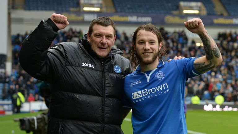 Tommy Wright: Celebrates with Saints striker Stevie May