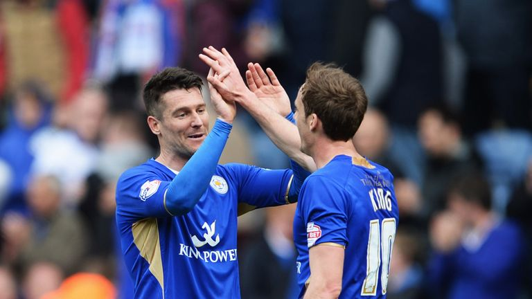 David Nugent: Celebrates his goal with Andy King