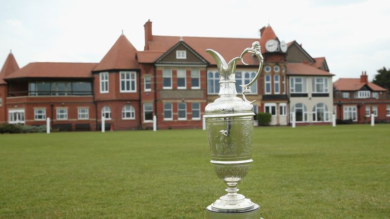 The Claret Jug in front of the Hoylake clubhouse