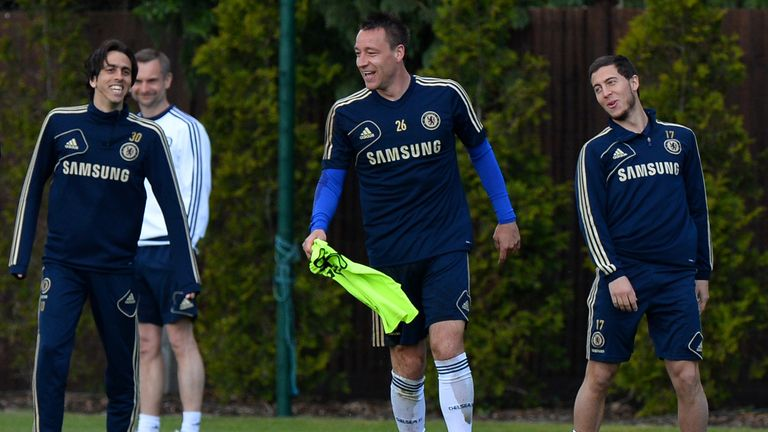 Chelsea boss will have Eden Hazard (R)and John Terry (C) available against Atletico Madrid