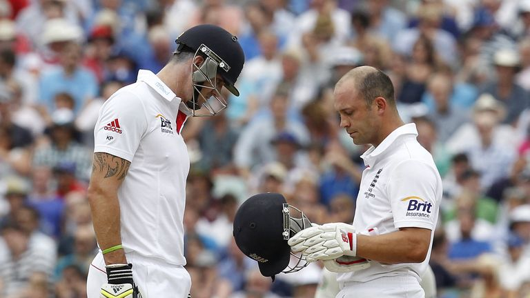 Kevin Pietersen and Jonathan Trott at the crease for England last summer