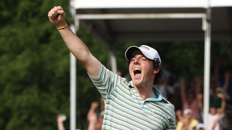 McIlroy celebrates victory in 2010