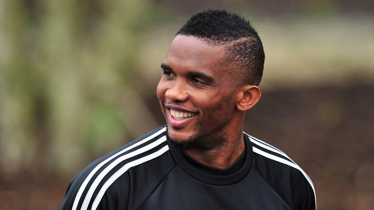 Eto'o: Arrives at Cobham for training