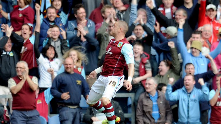 Michael Kightly: Celebrates one of his eight Burnley goals