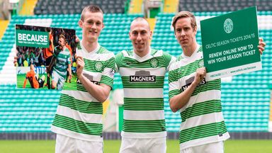 Scott Brown (centre) with Liam Henderson and Stefan Johansen at season-ticket launch