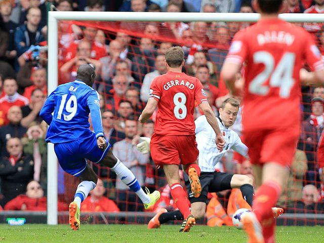 Demba Ba scores Chelsea's opening goal after Steven Gerrard's error