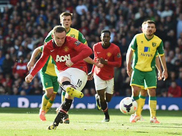 Wayne Rooney gives United the lead from the penalty spot.