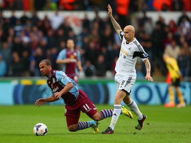 Gabriel Agbonlahor of Aston Villa clashes with Jonjo Shelvey of Swansea