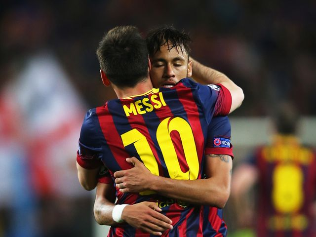 Neymar of Barcelona celebrates his goal with Lionel Messi
