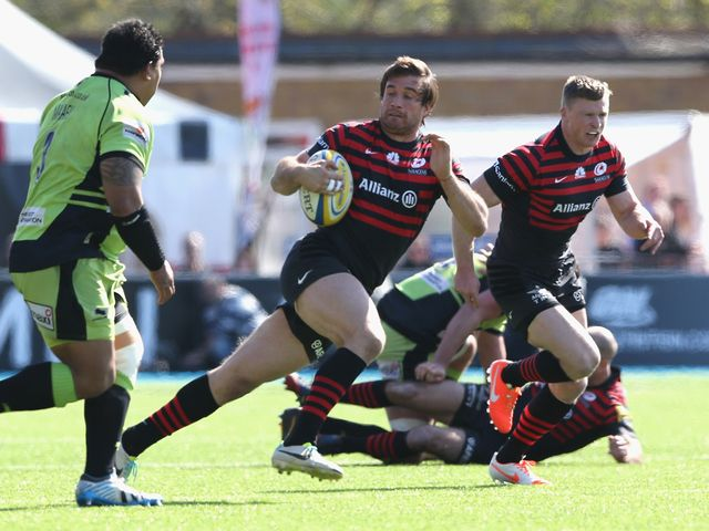 Marcelo Bosch of Saracens breaks with the ball