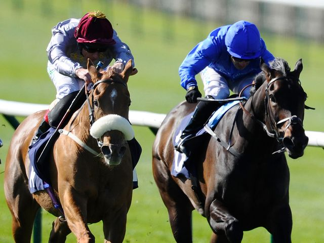 Frankie Dettori and Sandiva (left) win the Nell Gwyn at Newmarket