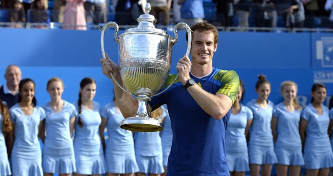 Andy Murray holds the Queen's Club trophy in June 2013