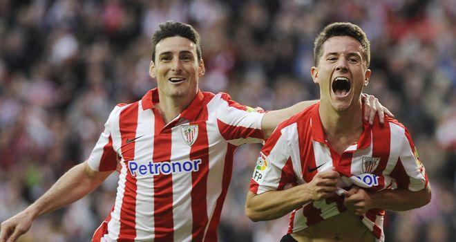 Athletic Bilbao's midfielder Ander Herrera celebrates