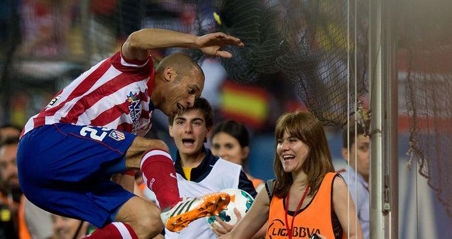 Joao Miranda: Celebrates his goal for Atletico