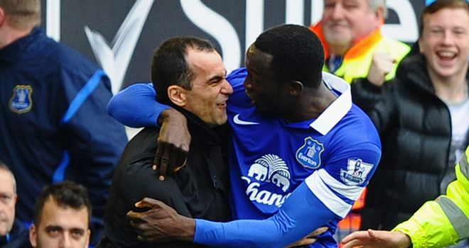 Romelu Lukaku: Congratulated by Roberto Martinez as Everton beat Arsenal 3-0