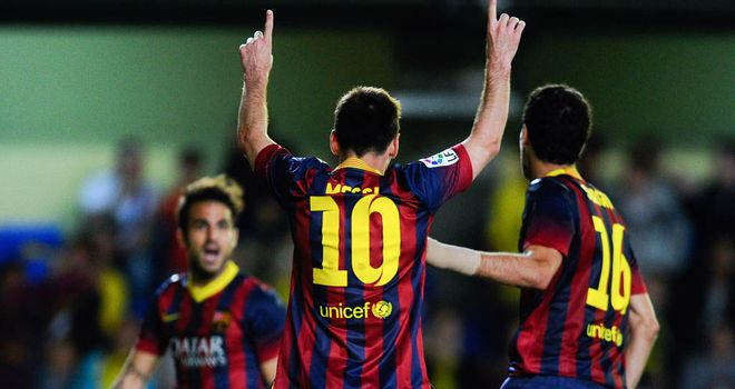 Lionel Messi (No 10) celebrates his late winner