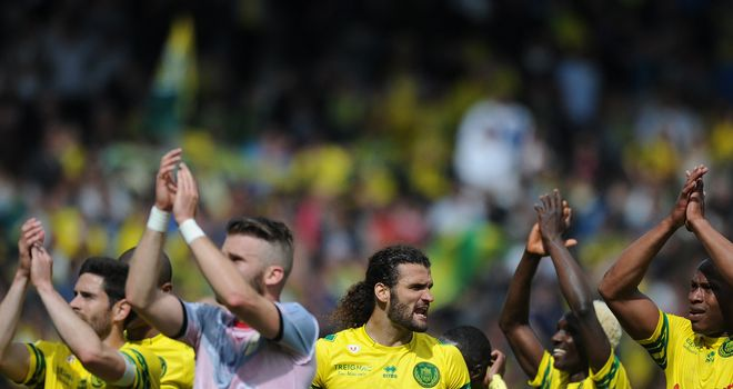 Nantes salute the fans after their victory