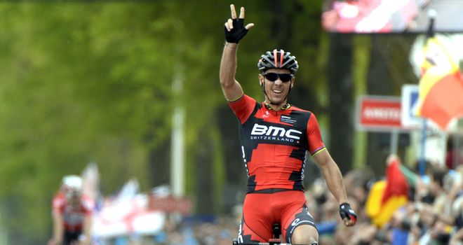 Philippe Gilbert celebrates his third Amstel Gold Race win