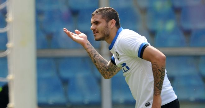 Mauro Icardi enjoys his first goal