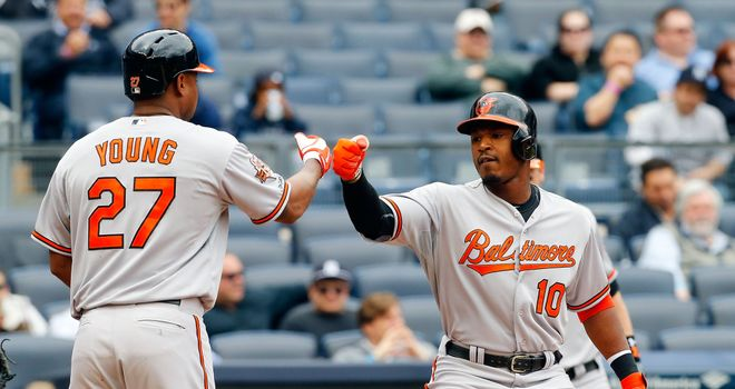 Delmon Young (left) and Adam Jones: Baltimore Orioles duo both hit home runs