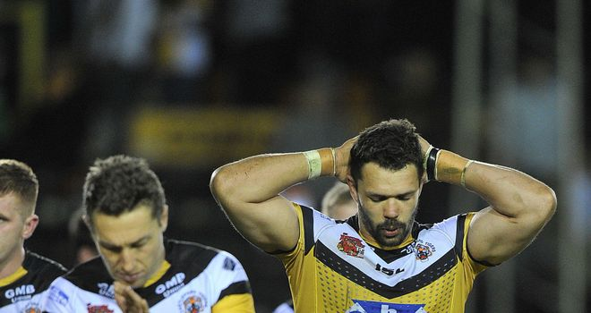 Castleford players look dejected at the final whistle after going down in dramatic circumstances to St Helens