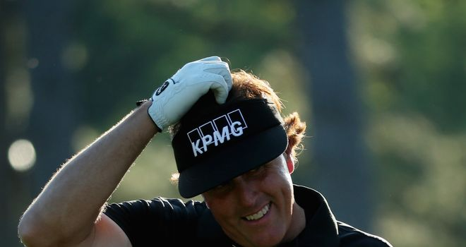 Phil Mickelson: A bit befuddled after carding two 7s but still smiling