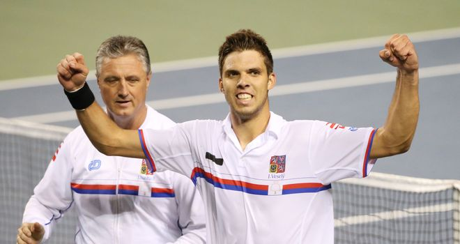 Jiri Vesely of the Czech Republic celebrates with captain Jaroslav Navratil