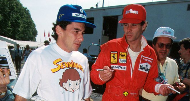 Senna with then Ferrari driver Gerhard Berger at Imola