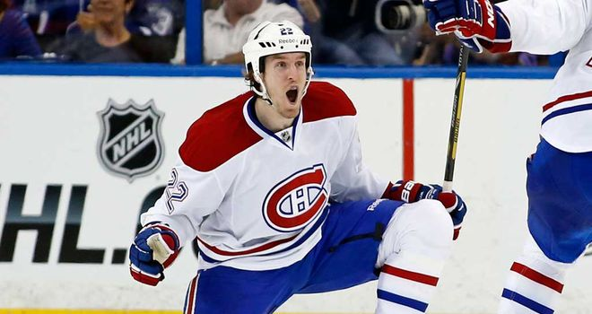 Dale Weise celebrates his winning goal for Montreal Canadiens