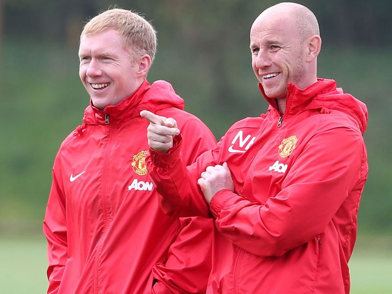 Paul Scholes (left): Helped out Ryan Giggs at Man United at the end of the season