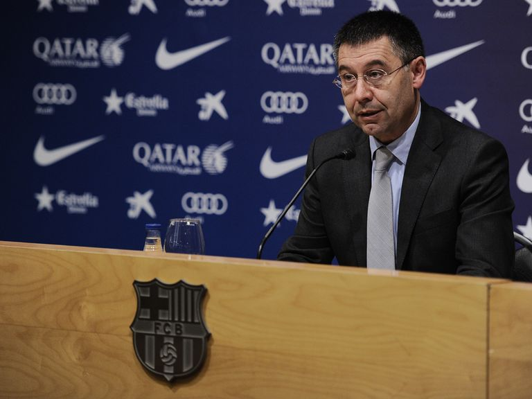 Barcelona president Josep Maria Bartomeu faces the press