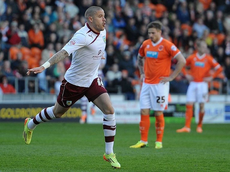 Michael Kightly celebrates the winning goal for Burnley
