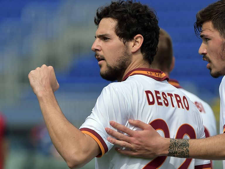 Roma's hat-trick hero Mattia Destro celebrates
