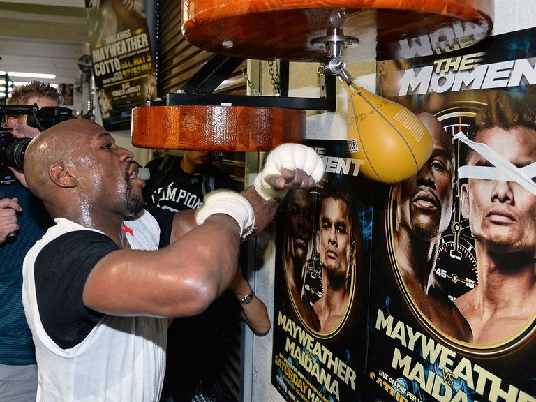 Mayweather is training hard for a tough fight