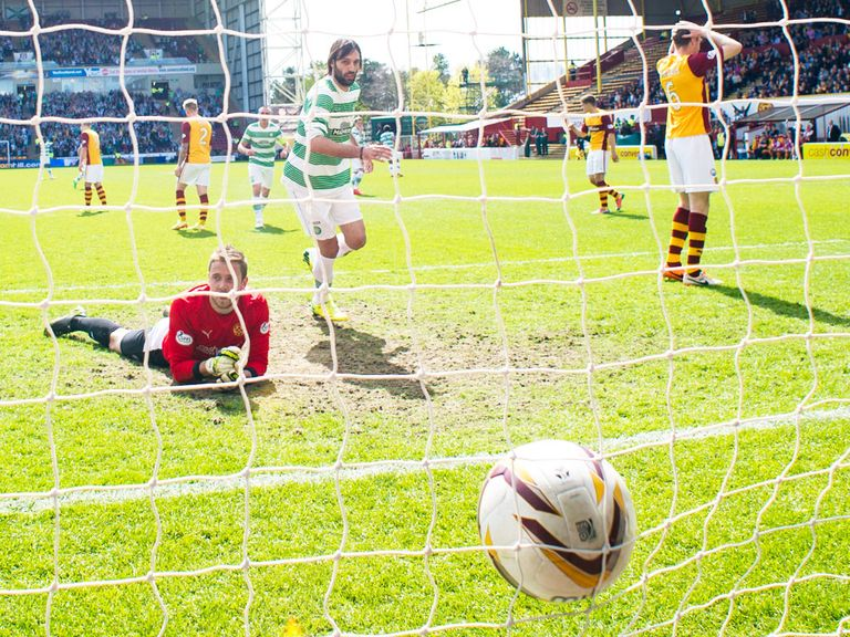 Samaras finds the net for Celtic during the entertaining 3-3 draw